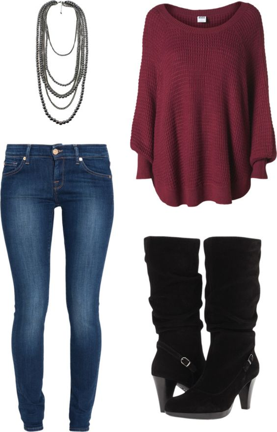 """""""Casual Winter Red"""" by rhiana-field ❤ liked on Polyvore"""