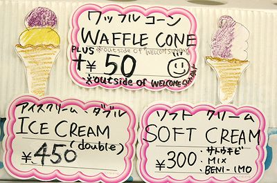 Purple Potato Ice Cream in Okinawa, Japan - Cone Signs