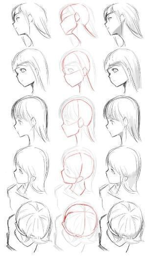 How To Draw A Face From Side Profile View Female Girl Female How To Draw A Face From Side In 2020 Anime Drawings Tutorials Drawing Tutorial How To Draw Hair