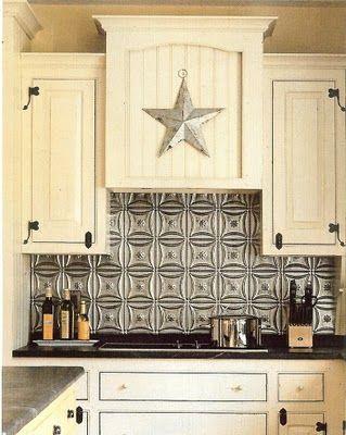 Tin Ceiling Tile Backsplash.: