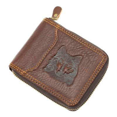 New arrival men wallets 100% Genuine Leather Zipper Around Wallet Card Holder Brown freeshipping
