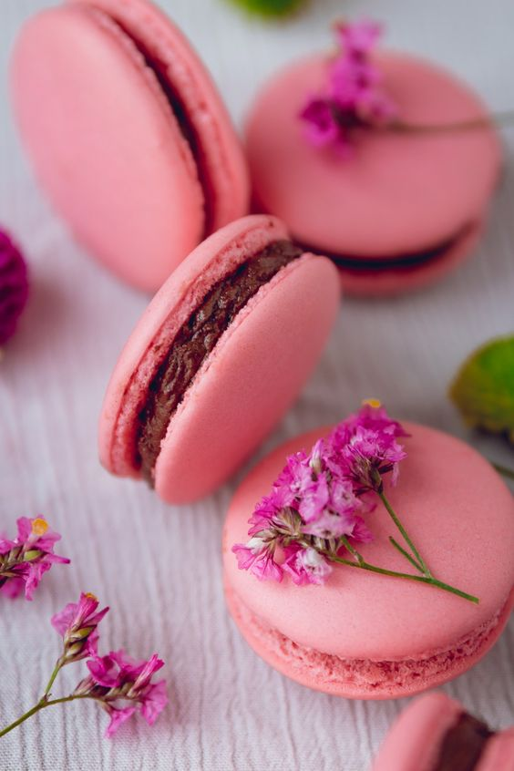 Rose French Macarons with Chocolate Frosting