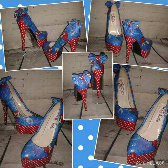 Fun quirky girly red blue ariel little mermaid by artandsoleshoes