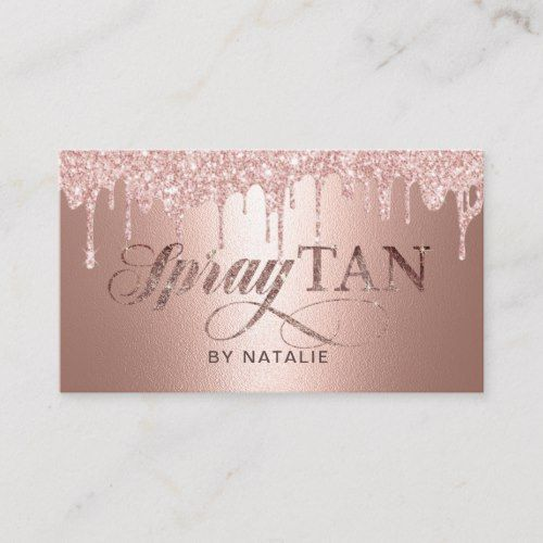 Spray Tan Modern Rose Gold Drips Mobile Tanning Business Card Zazzle Com In 2021 Spray Tan Business Spray Tanning Mobile Tanning Business