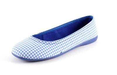 Bailarina de Lona Estampado cuadros Azul con suela de Goma