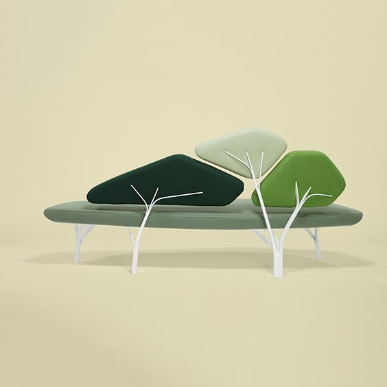 Borghese is a light sofa inspired by the stone pines of the Villa Borghese in Roma. The metal structure reproduces the network of branches and supports the back cushions, with the ensemble creating a comfortable landscape.