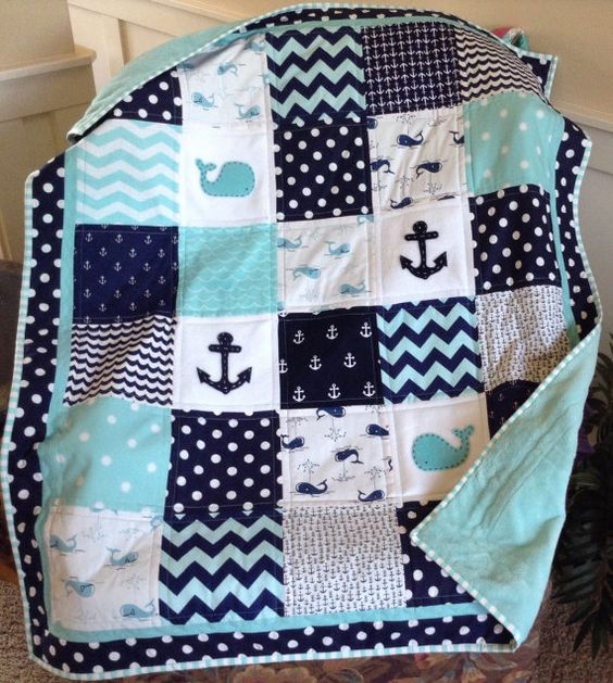Nautical Coastal Quilt In Aqua Navy And White Whale And