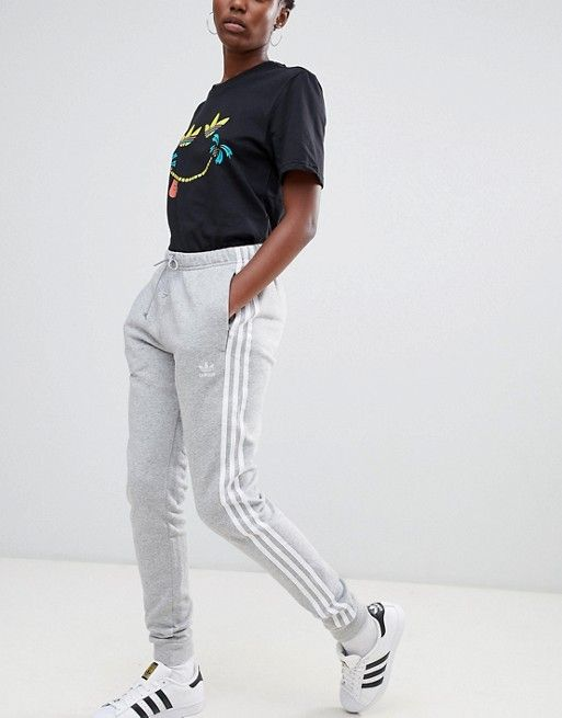 most popular online for sale detailed look adidas Originals Three Stripe Cuffed Sweat Pants In Grey in ...