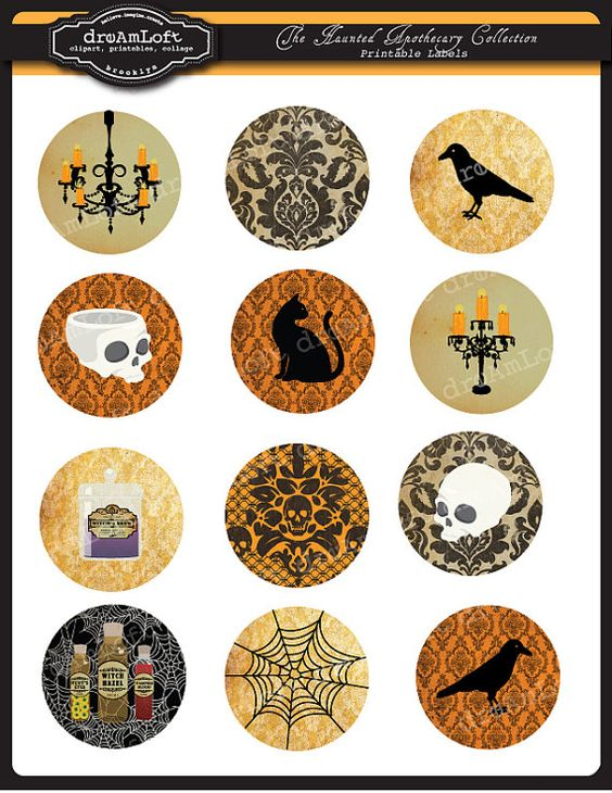 The Haunted Apothecary Collection 2 Inch Round Circles for stickers, coasters, tags, pendants, cupcake toppers, pins and more