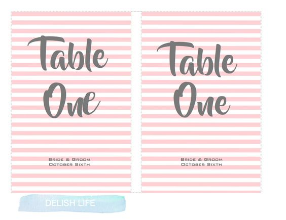 Table Number Template, Printable and Editable Wedding, Table Numbers, mac or pc - INSTANT DOWNLOAD by DelishLifeDesigns on Etsy