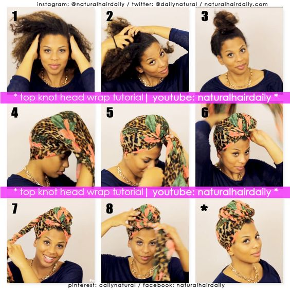 Top knot head wrap tutorial by Elle.  Simply visit www.youtube.com/naturalhairdaily to see the full tutorial!: