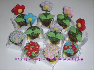 Pati Fernandes - Confeitaria Artística: Trufas decoradas - Tema: Jardim