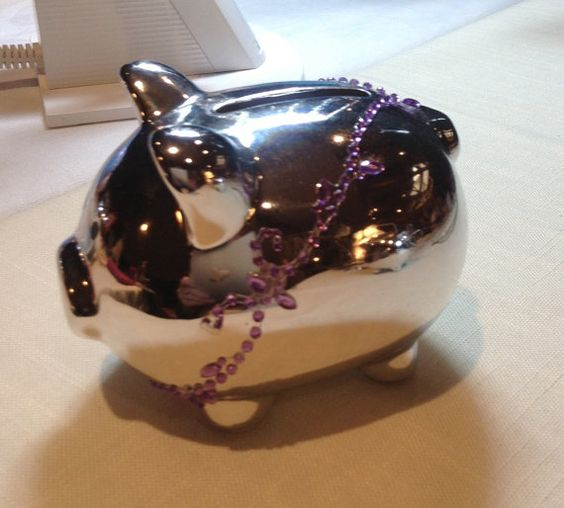 Charming Ceramic Piggy Bank Silver Tone with by MyOwnAssortment