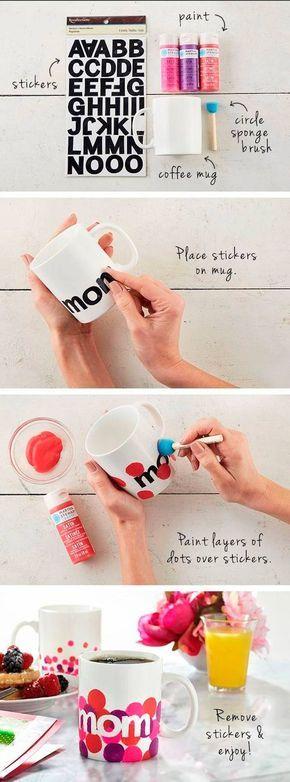 DIY Tazas pintadas! Regalos para el Día de la Madre!: