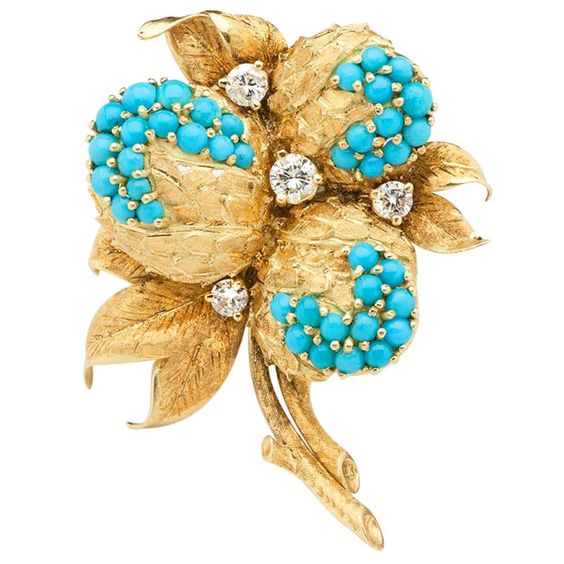 Turquoise and Diamond Brooch. Italy circa 1960s