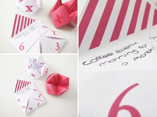 Fun fortune tellers for guests on the tables