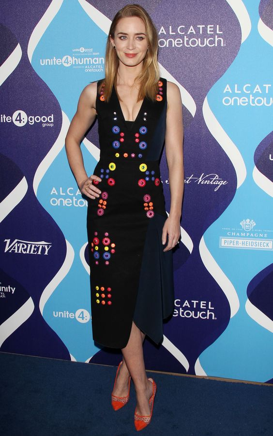 emily blunt in peter pilotto (and kurt geiger) at the unite4humanity event in hollywood