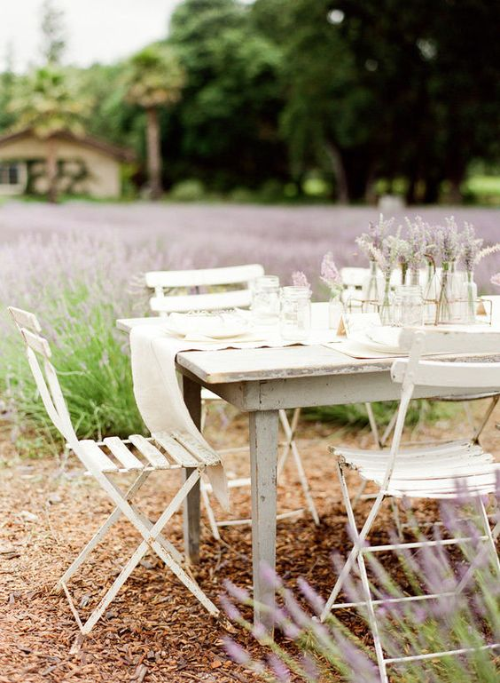 Lavender: Outdoor Table, Lavender Garden, Lavender Weddings, Table Setting, Backyard Lavender, White Table