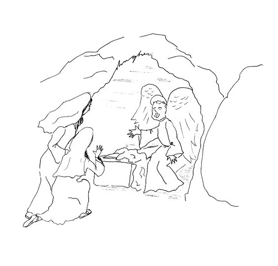 The resurrection mary and mary magdalene and an angel at for Coloring pages of jesus empty tomb
