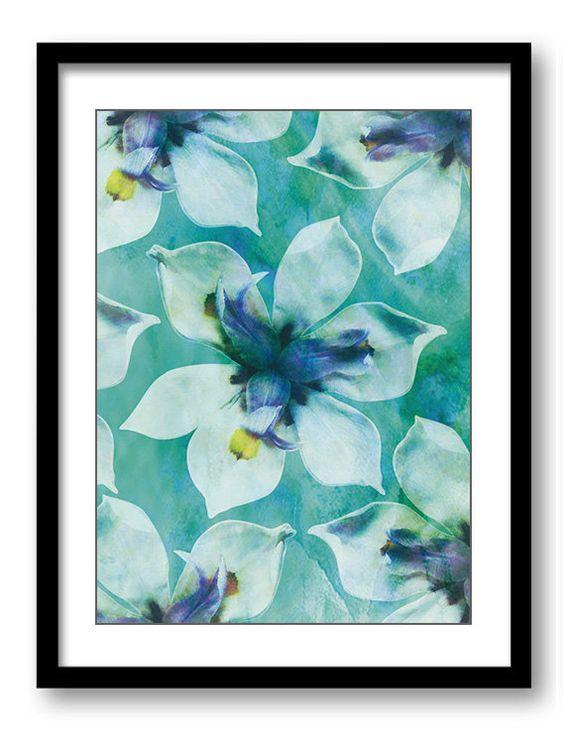 Teal Groen Witte Orchidee Bloem Badkamer Art Print Blauw
