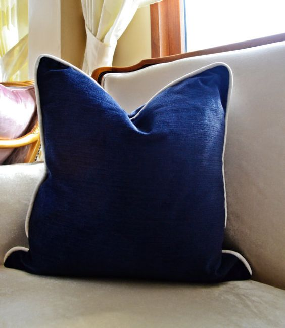 Navy Velvet Pillow Cover,Navy Pillow Cover with Piping, Modern Pillow Cover , Cover,Navy Blue ...
