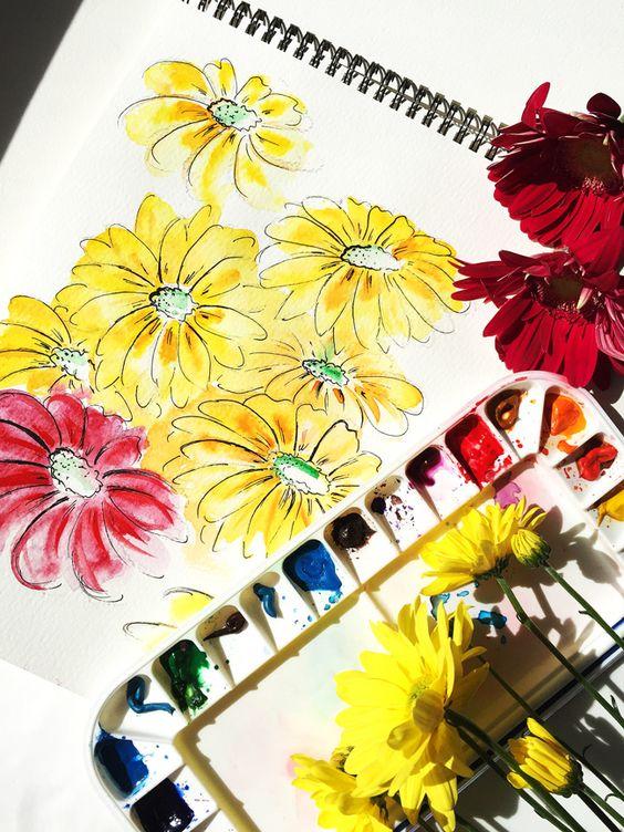 Pretty flowers in my sketchbook