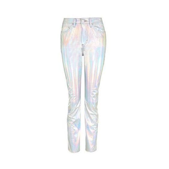 TopShop Moto Holographic Silver Straight Leg Jeans (€65) ❤ liked ...