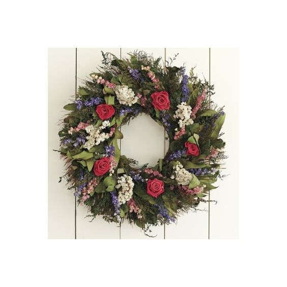 williams-sonoma Garden Rose Wreath (11325 RSD) ❤ liked on Polyvore featuring home, outdoors, outdoor decor, multi, williams-sonoma, garden patio decor, outdoor garden decor and garden decor