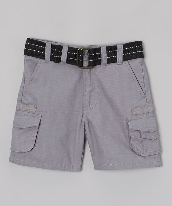 Mick Mack Nickel Gray & Black Belted Cargo Shorts - Toddler by Mick Mack #zulily #zulilyfinds