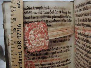 ILLUMINATED-MANUSCRIPT-Book-of-Hours-ANTIPHONARY-Folio-Binding-MINIATURES-Rare