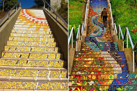 Escadaria de mosaico, em São Franciso, na Califórnia