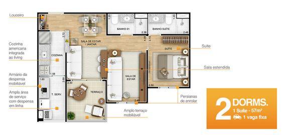 Planta de apto de 57m² com 2 dormitórios, em que um dos dormitórios foi usado para ampliar a sala.