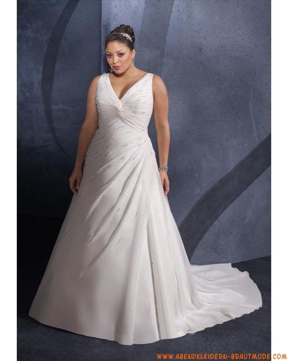2012 Große elegante Brautkleider aus Satin und Chiffon mit Schleppe