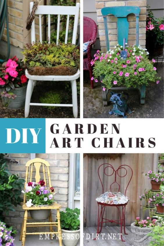 Old kitchen chairs painted in bold colours make fabulous plant stands and garden art. #gardenideas #repurposed #empressofdirt