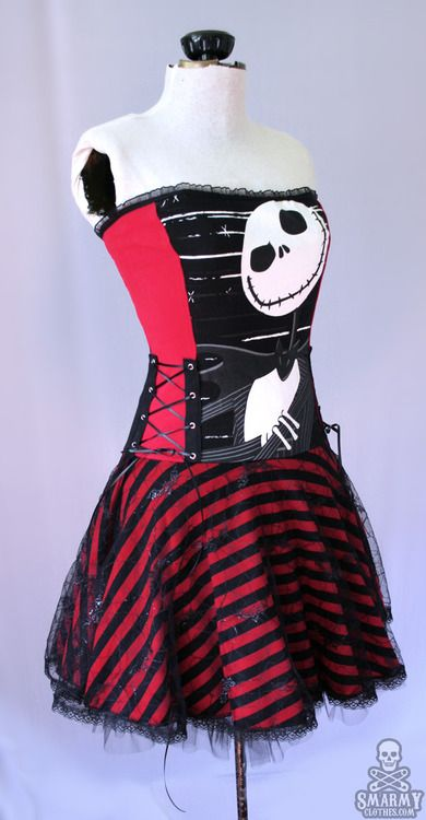 red   black Nightmare Before Christmas stripe corset dress | JACK ...