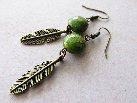 Green Mosaic Turquoise and Bronze Feather Earrings. Handcrafted jewellery. Boho. Hippie. Hippie fashion. Bohemian. Etsy fashion.