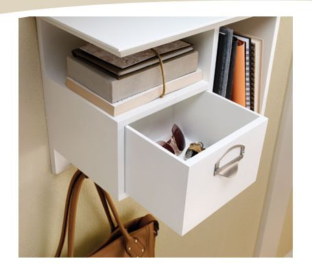 Great Entry Way Organizer: Hooks are perfect for hanging items such as coats, dog leashes, or umbrellas.  The drawer allows for easy storage of small items such as mittens or sunglasses.