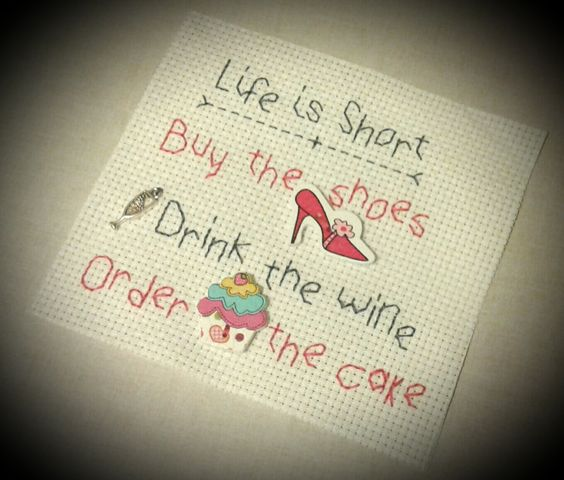 Stitched Quote 'Life is Short' by CraftyGiftsCrochet on Etsy