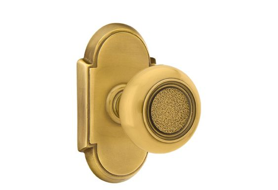 Emtek Belmont knob, #8 rosette, French Antique brass (not available in pewter).