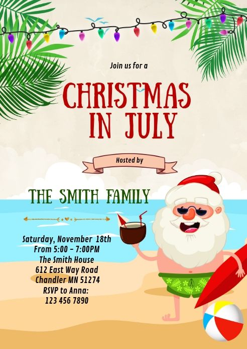 Christmas In July Party Invitation Christmas In July Happy Birthday Posters Party Invite Template