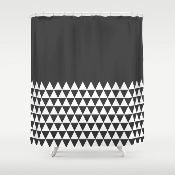 36 colours, Geometric Triangles Half Pattern Shower Curtain ...