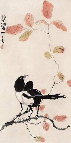 徐悲鸿 红叶双喜 Painted by Xu Beihong (徐悲鴻, 1895-1953). China Online Museum - Chinese Art Galleries