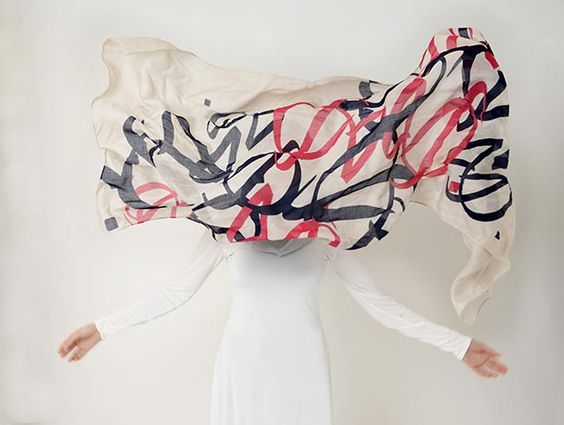 """'Vibrant Love' By Ruh Al- Alam. """"Hijab embodies love, with Arabic word 'hub' and written in Thuluth script."""" From """"A New Collection of Scarves Designed By Ruh-Alam For Silk Route Clothing."""""""