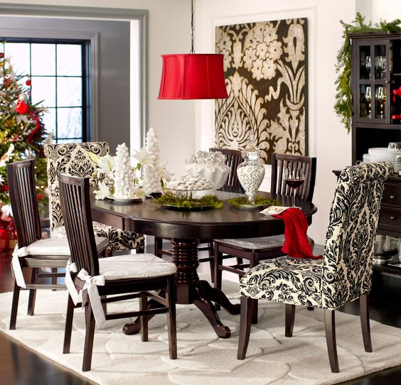 pier 1 angela onyx damask dining chairs add dramatic flair