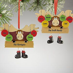 """These are so cute I could die!! It's the """"Merry Moosemas©"""" Christmas Ornament - you can personalize it with 4 or 6 names - an ornament for each family member ... how cute!!!! I love it! #Christmas #Moose: Merry Moosemas, Moosemas Christmas, Moose Personalized, Chris Moose, Christmas Ornaments, Personalized Ornaments, Christmas Mooses"""