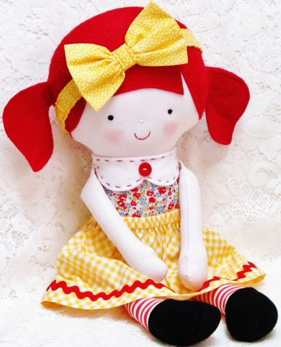 Cloth Dolls From  S And  S With Red Bow