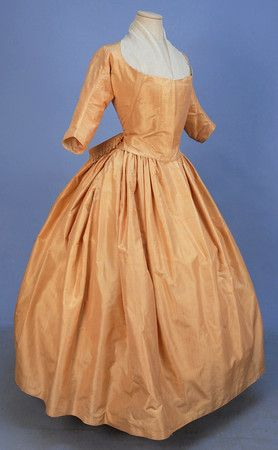 STRIPED SATIN GOWN, 1770's.: