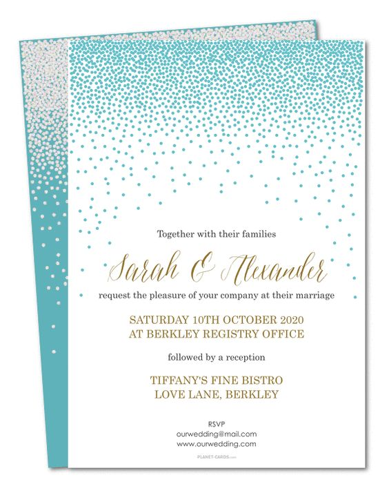 Glitter rain Wedding invitation by Planet Cards. You can change the background and font colours of our rainfall glitter wedding invitation to match your wedding theme.