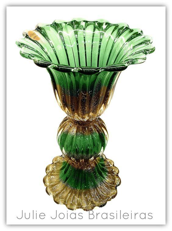 Vaso em cristal de Murano com ouro em pó 24k (Murano crystal vase with 24k powdered gold)