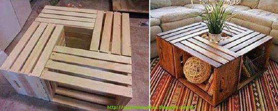 Faça você mesmo uma mesa de centro com caixas de madeira.